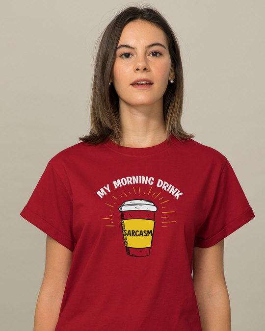 Shop My Morning Drink Boyfriend T-Shirt-Front