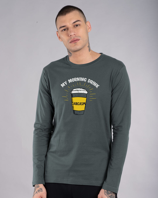 Shop My Morning Drink Full Sleeve T-Shirt-Front