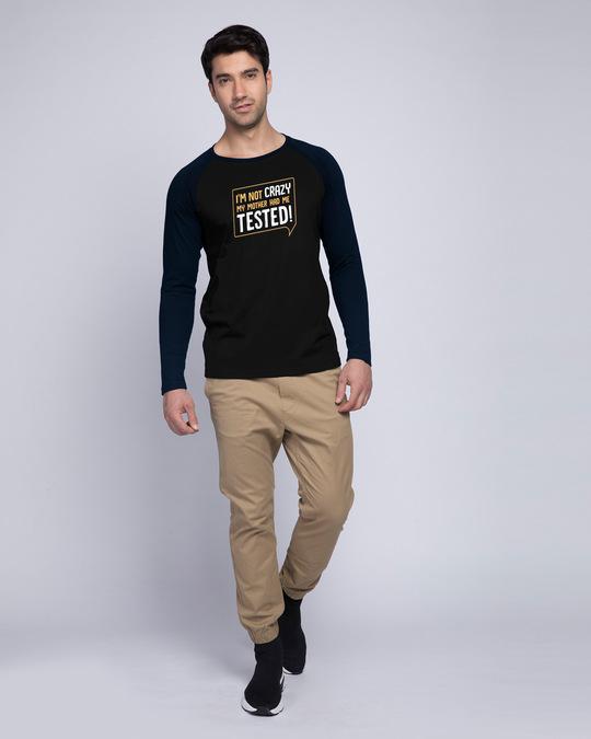 Shop My Mother Had Me Tested Full Sleeve Raglan T-Shirt Navy Blue-Black-Full