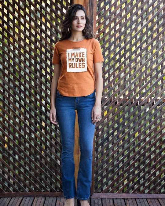 Shop My Own Rules Basic Round Hem T-Shirt-Full