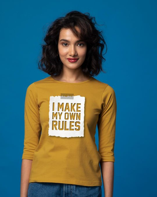 Shop My Own Rules Round Neck 3/4th Sleeve T-Shirt-Front