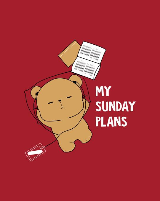 Shop My Sunday Plans-bear Boyfriend T-Shirt-Full