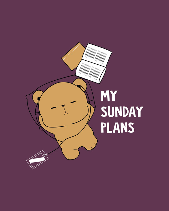 Shop My Sunday Plans-bear Round Neck 3/4th Sleeve T-Shirt-Full