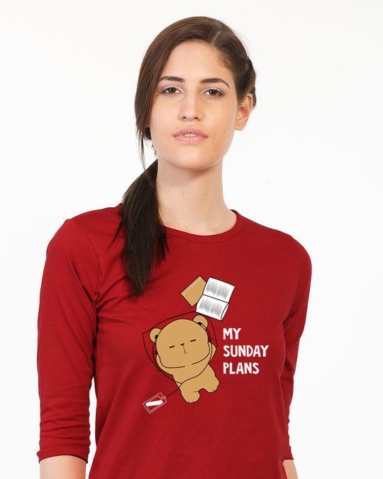 Shop My Sunday Plans-bear Round Neck 3/4th Sleeve T-Shirt-Front