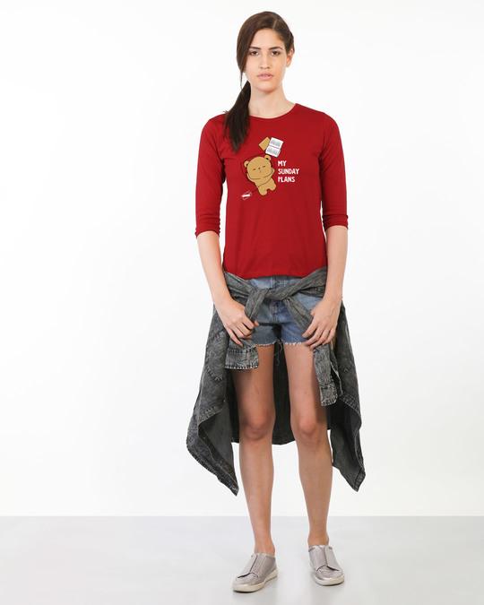 Shop My Sunday Plans-bear Round Neck 3/4th Sleeve T-Shirt-Full