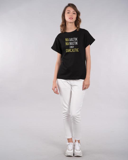 Shop Na Aastik Na Nastik Boyfriend T-Shirt-Design