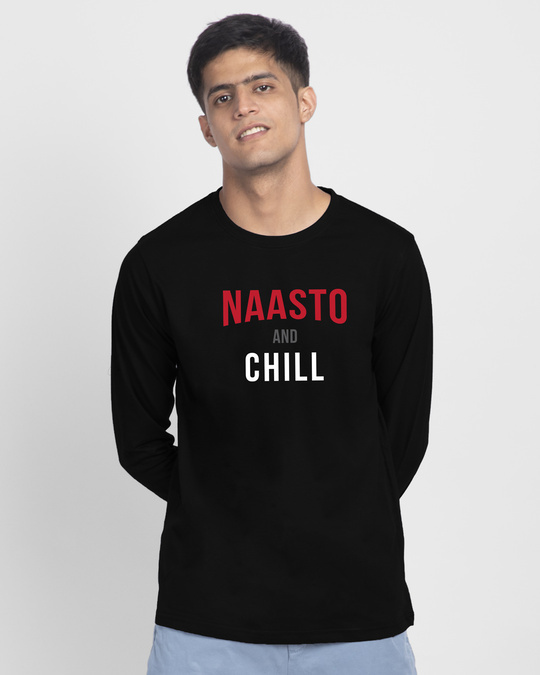 Shop Naasto And Chill Full Sleeve T-Shirt Black-Front