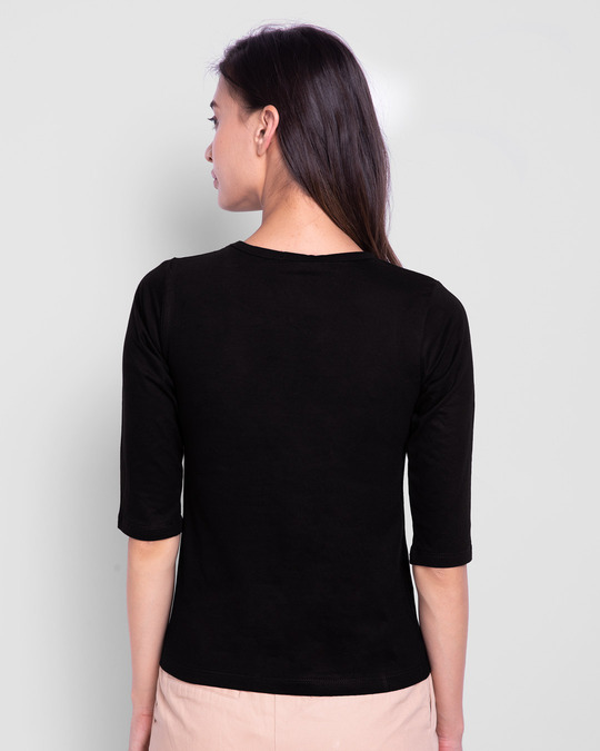 Shop Naasto And Chill Round Neck 3/4 Sleeve T-Shirts Black-Back