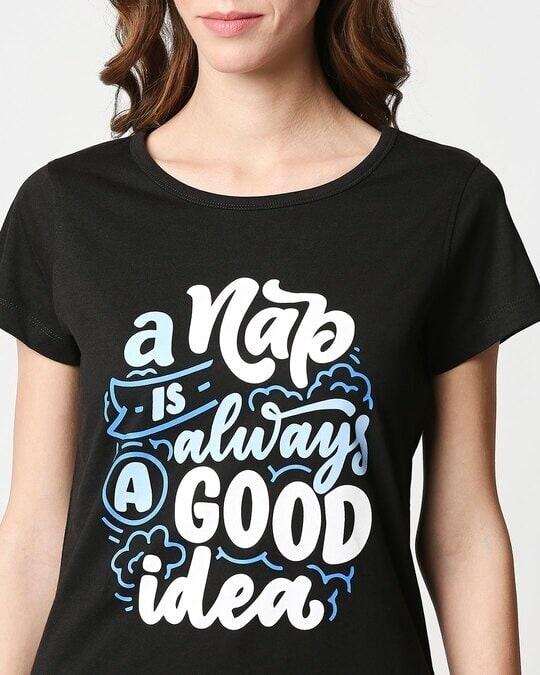 Shop Women's Printed Black T-shirt Night Dress