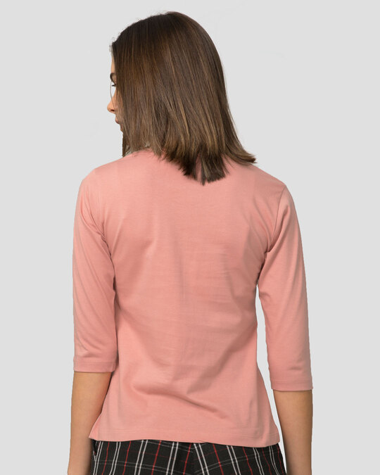 Shop Napqueen Kitty Round Neck 3/4th Sleeve T-Shirt Misty Pink-Back
