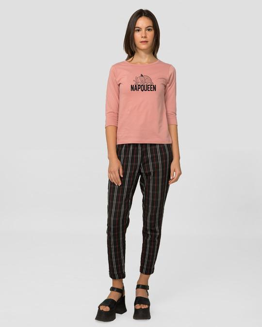 Shop Napqueen Kitty Round Neck 3/4th Sleeve T-Shirt Misty Pink-Design