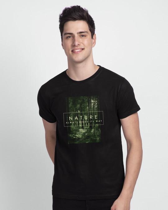 Shop Nature Finds Its Way Half Sleeve T-Shirt Black-Front
