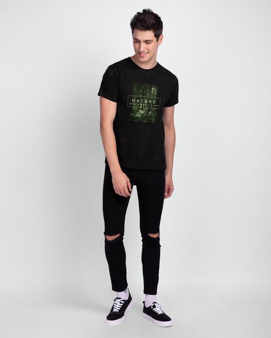 Shop Nature Finds Its Way Half Sleeve T-Shirt Black-Design