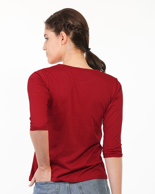 Shop Naughty Not Cute Round Neck 3/4th Sleeve T-Shirt (TJL)-Back