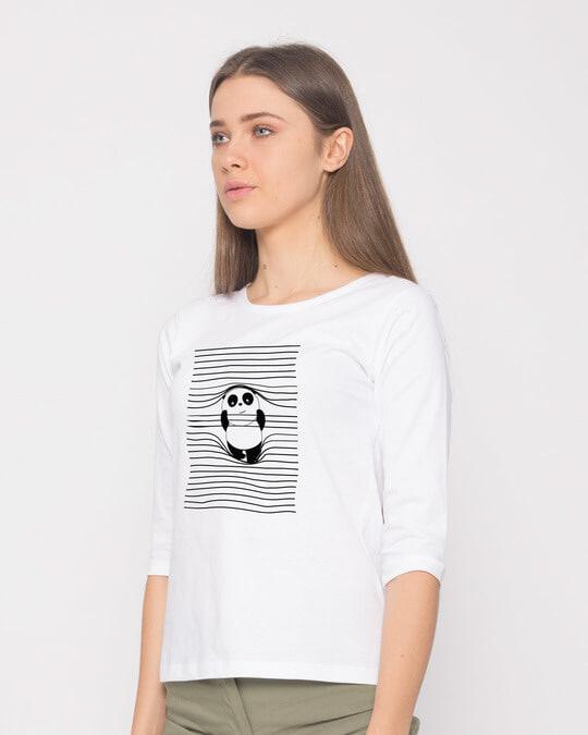 Shop Naughty Panda Round Neck 3/4th Sleeve T-Shirt-Back