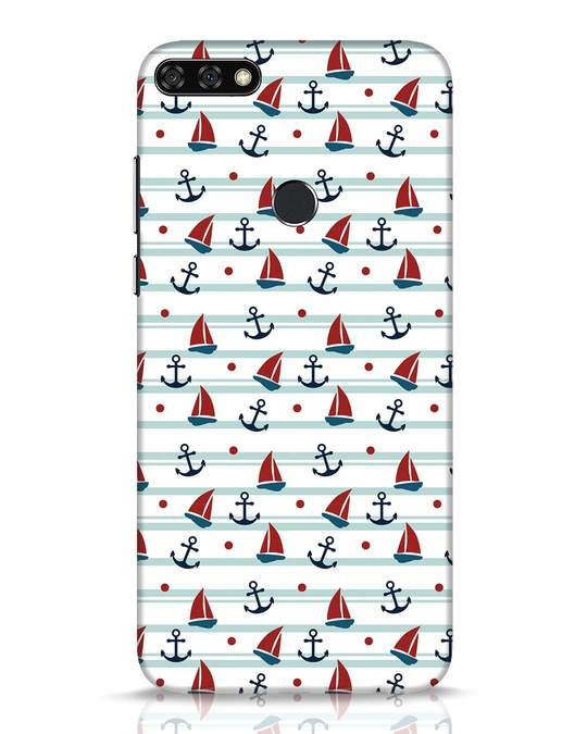 Shop Nautical Pattern Huawei Honor 7C Mobile Cover-Front