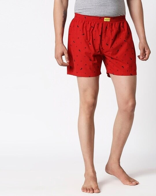Shop Nautical Print Red Boxers-Front