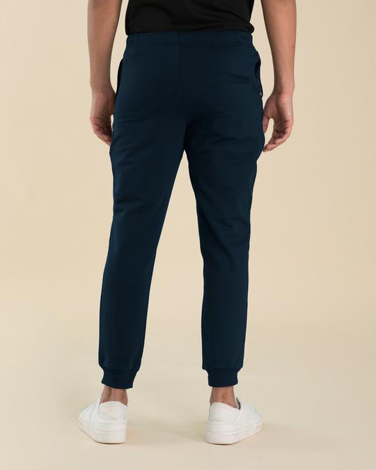 Shop Navy Blue Basic Zipper Fleece Joggers-Design