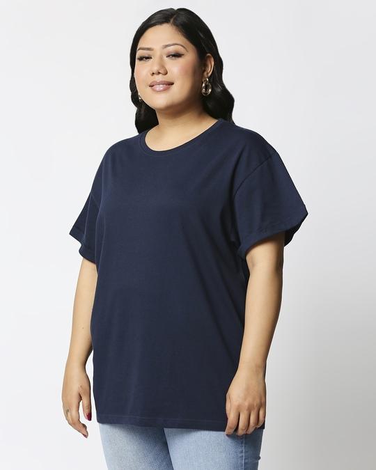Shop Navy Blue Boyfriend Plus Size T-Shirt-Back