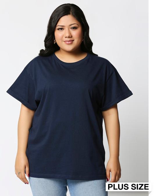 Shop Navy Blue Boyfriend Plus Size T-Shirt-Front