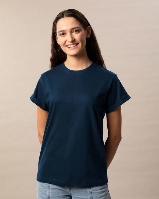 Shop Navy Blue Boyfriend T-Shirt-Back