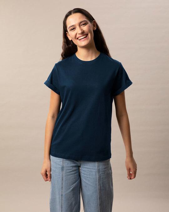 Shop Navy Blue Boyfriend T-Shirt