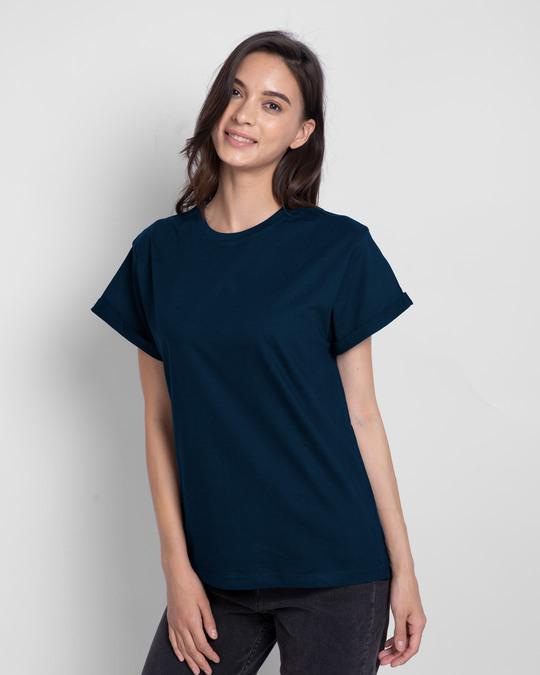 Shop Navy Blue Boyfriend T-Shirt-Front
