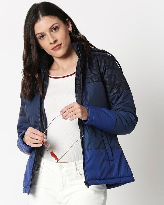 Shop Navy Blue Camo Four Block Puffer Jacket-Front