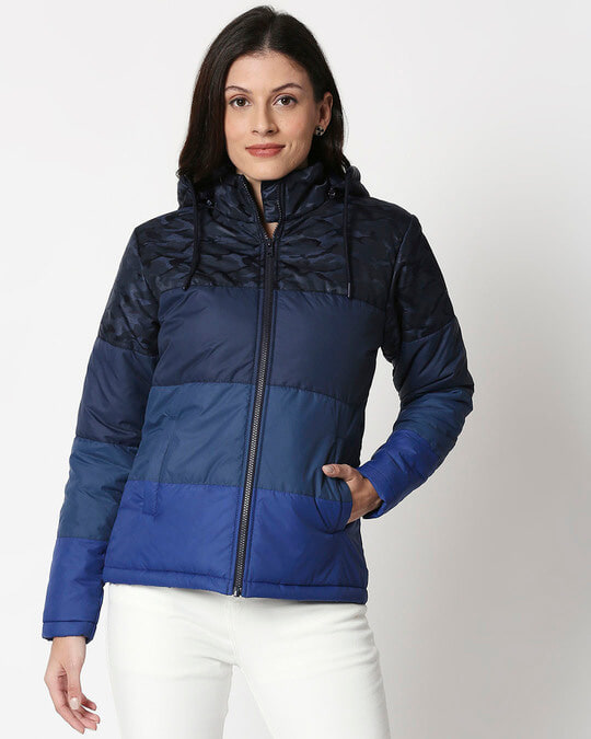Shop Navy Blue Camo Four Block Puffer Jacket-Back