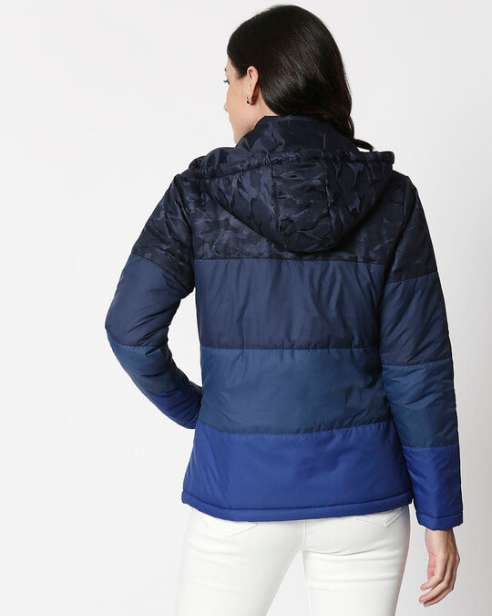 Shop Navy Blue Camo Four Block Puffer Jacket-Full