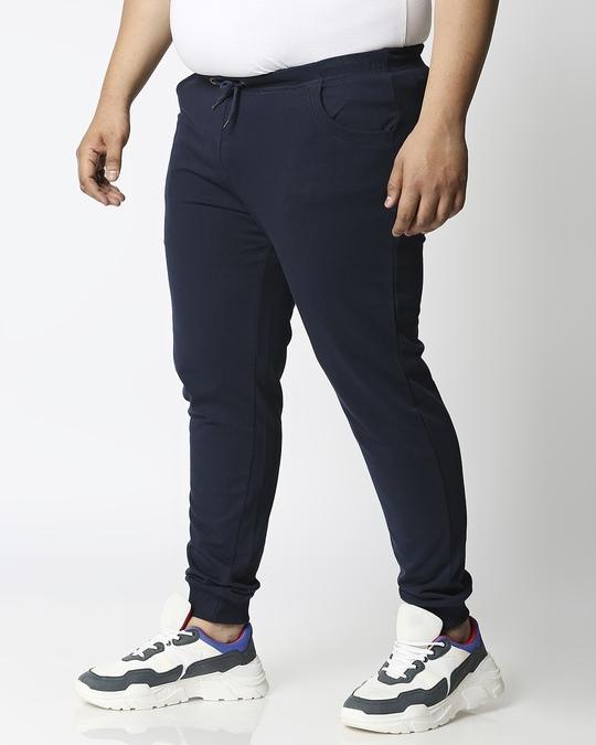 Shop Navy Blue Plus Size Casual Jogger Pants-Back