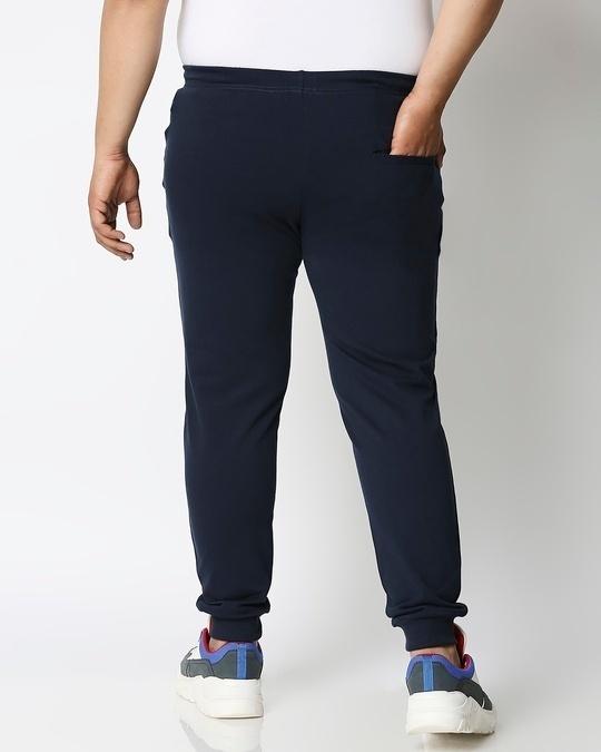 Shop Navy Blue Plus Size Casual Jogger Pants-Design