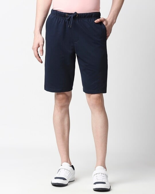 Shop Navy Blue Casual Shorts-Front