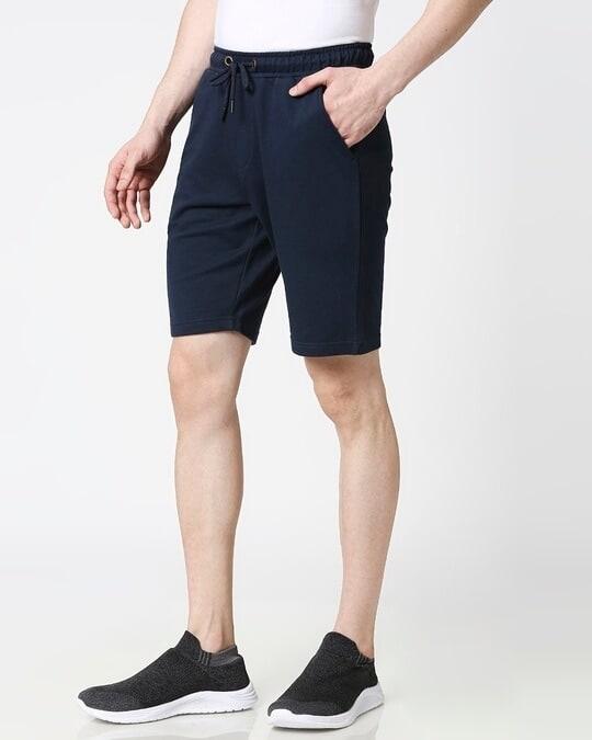 Shop Navy Blue Casual Shorts-Back