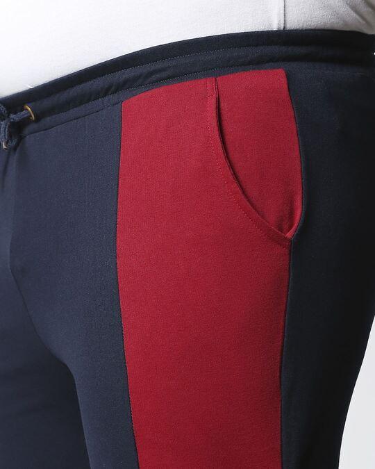 Shop Navy Blue Plus Size Color Block Jogger Pants