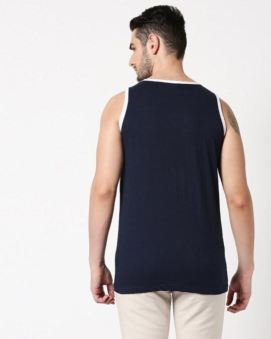 Shop Navy Blue Contrast Binding Round Neck Vest-Full