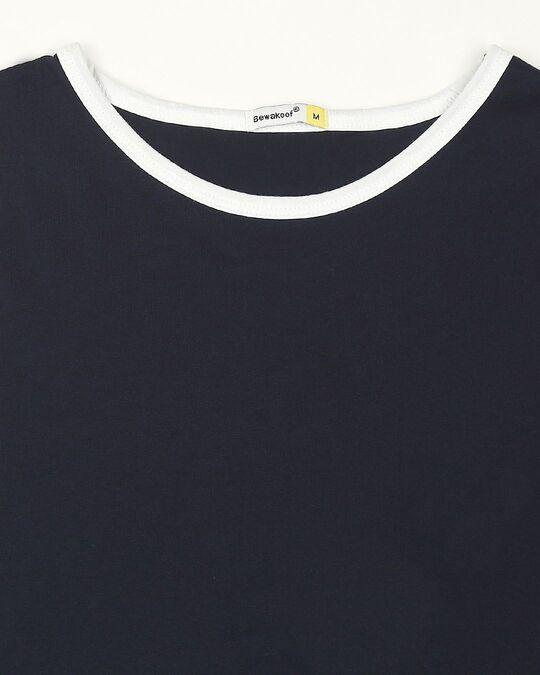 Shop Navy Blue Contrast Binding Round Neck Vest
