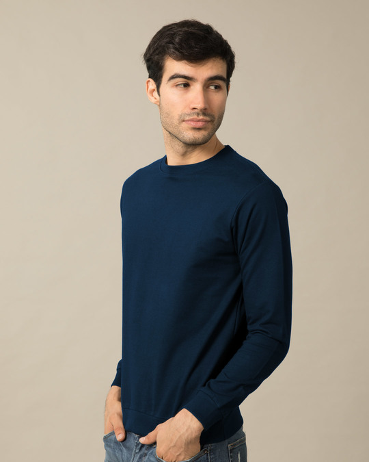 Shop Navy Blue Fleece Crew Neck Sweatshirt-Back