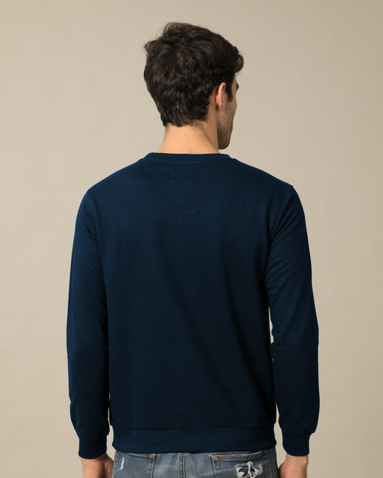 Shop Navy Blue Fleece Crew Neck Sweatshirt-Design