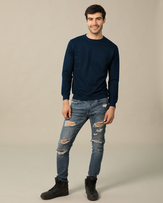 Shop Navy Blue Fleece Crew Neck Sweatshirt-Full