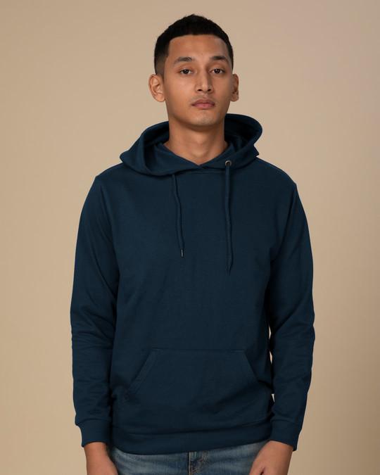 Shop Navy Blue Fleece Hoodies-Front