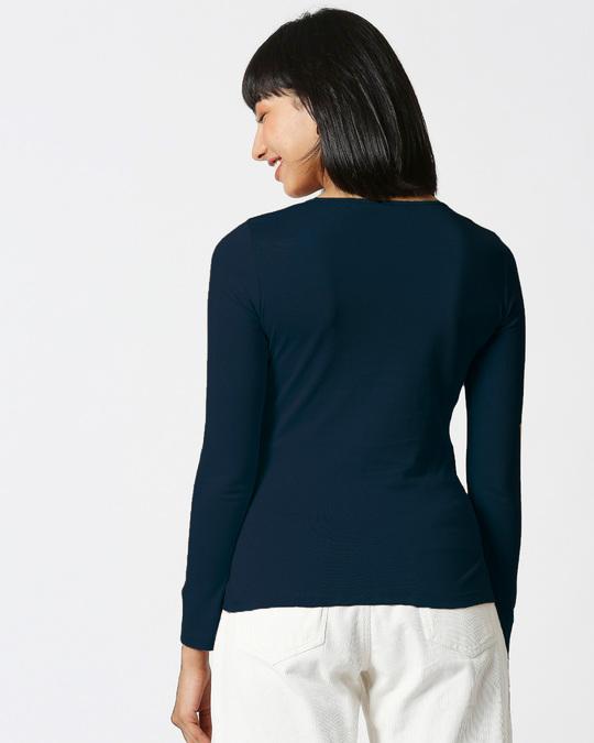 Shop Navy Blue Full Sleeve Henley T-Shirt-Design