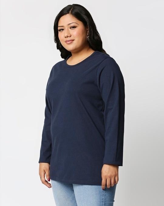Shop Navy Blue Full Sleeve Plus Size T-Shirt-Back