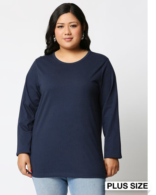 Shop Navy Blue Full Sleeve Plus Size T-Shirt-Front