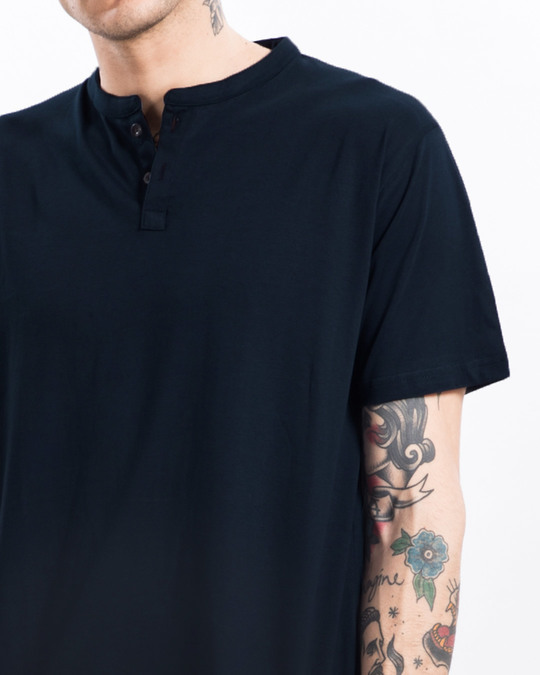 Shop Navy Blue Half Sleeve Henley T-Shirt