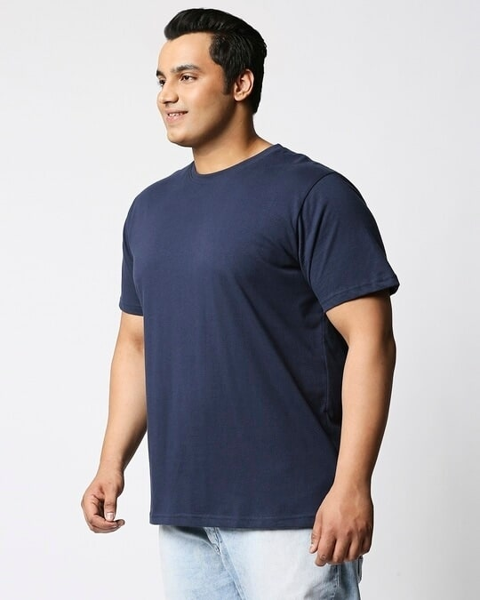 Shop Navy Blue Half Sleeve Plus Size T-Shirt-Back