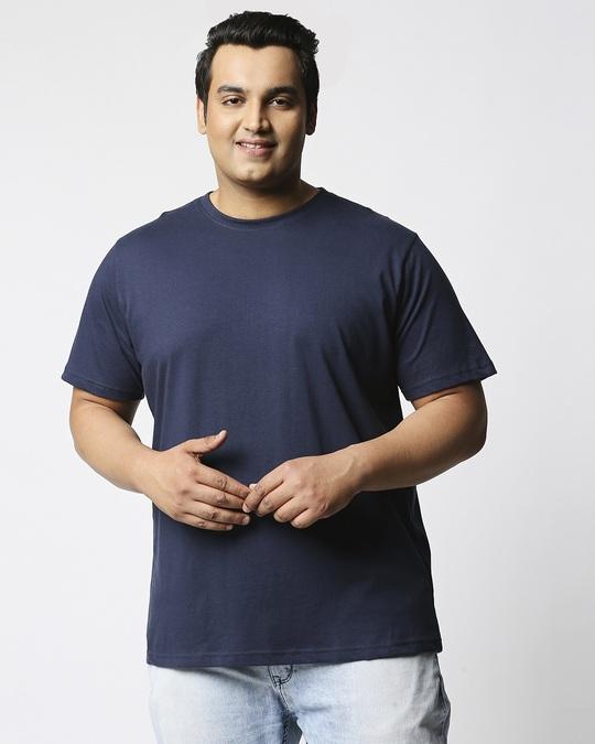 Shop Navy Blue Half Sleeve Plus Size T-Shirt-Back