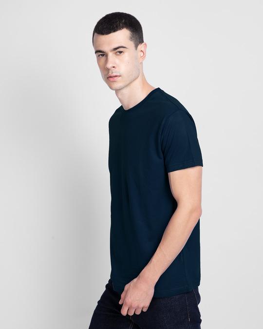 Shop Navy Blue Half Sleeve T-Shirt-Back