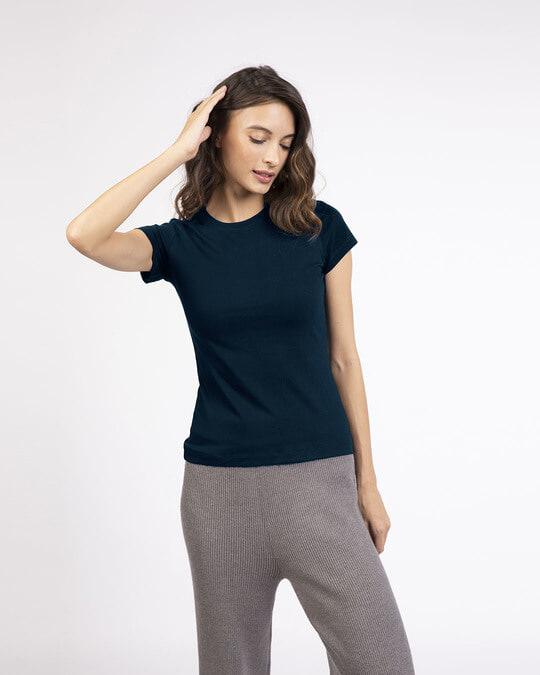 Shop Navy Blue Half Sleeve T-Shirt-Front