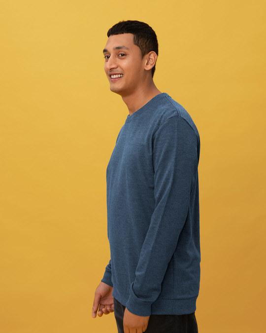 Shop Navy Blue Heather Melange Sweatshirt-Back